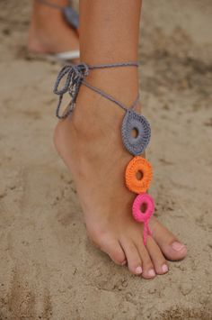 Crochet Multicolor Barefoot Sandals Nude shoes Foot by barmine