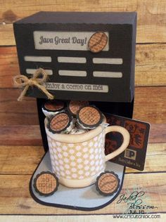 It's me Cricut Chick Here is a really cute project that I made using my Jaded Blossom Stamps. I used the stamp set ca. Party Gifts, Diy Gifts, Cadeau Surprise, Coffee Theme, Paper Mache Crafts, Cafetiere, Candy Favors, Diy Presents, Treat Holder