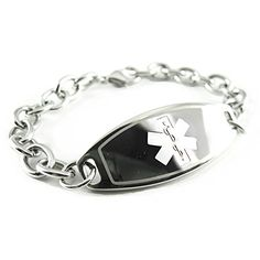 MyIDDr Custom Engraved Womens Medical Alert Bracelet, Steel O-Link Chain, Medium *** Want to know more, visit http://www.amazon.com/gp/product/B014F3UIMW/?tag=ilikeboutique09-20&wx=230716234548