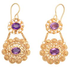 Georgian cannetille earrings, 15 kt gold, amethysts, cannetille work on both sides, England, circa 1830