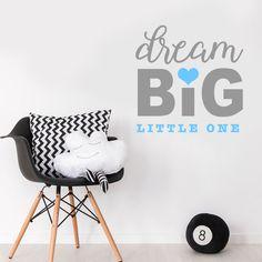 Dream Big Little One Quote Baby Boy Nursery Bedroom Wall Sticker Decor