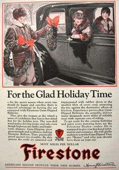 1927 Firestone Tires Ad ~ Christmas Wreath, Vintage Tire Ads