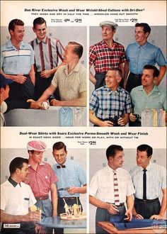 The 1958 Spring/Summer Sears Catalog Old School Fashion, Big Men Fashion, Fashion Styles, Fashion Ideas, Vintage Shirts, Vintage Men, Vintage Outfits, 1950s Fashion Menswear, 1960s Fashion
