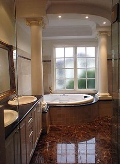 This would be the master bathroom all I need for the end of the day relaxation