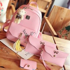 Cheap Cute PU Girl's Bow Flower School Bag Peach Blossom Embroidery Tassels College Backpack For Big Sale! Stylish College Bags, College Bags For Girls, Girls Bags, Girly Backpacks, Stylish Backpacks, School Backpacks, Small School Bags, High School Bags, The Pink Store