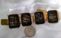 Bracelet Asian Big Bold Vintage Panel Links Damascene Style 24KT Gold Plated Etched Exquisite Condition Floral Landscape Theme Chunky Runway by StoneForestJewels on Etsy