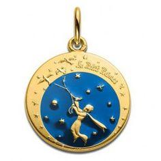 Le Petit Prince Médaille de cou - Le Petit Prince et les oiseaux en couleur - 18 mm