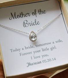 Mother of the Bride gift Bridesmaid Necklace Mother of the bride Maid of honor Bridesmaid gifts Wedding Gifts For Parents, Mother Of The Groom Gifts, Mother In Law Gifts, Bride And Groom Gifts, Gifts For Wedding Party, Mother Of The Bride, Wedding Ideas, Wedding Stuff, Bridal Gifts
