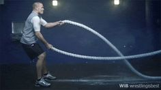Example of a basic battle rope workout. go all out for 20-to-30 seconds and then rest for 30+ seconds. repeat for 20 minutes  #battlerope