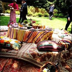 Bohemian table setting at the wedding of Margherita Missoni.