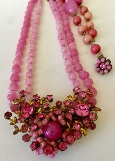 Vintage Signed Miriam Haskell Pink Art Glass Beaded Necklace #MiriamHaskell #Cluster