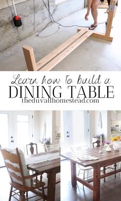 Diy Furniture Plans Wood Projects, Diy Furniture Table, Farmhouse Dining Room Table, Dinning Room Tables, Diy Dining Table, Dining Bench, Kitchen Furniture, Diy Kitchen Cabinets, Diy Kitchen Tables