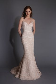 Sweet Spaghetti Strap Dropped Train Lace Pink Sleeveless Wedding Dress with Appliques LWXT150AC  #weddingdress #landybridal