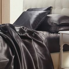 stunning charcoal satin sheet set, more satin bedding available from Ivory & Deene with free shipping Australia wide and fast worldwide shipping shipping.