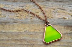 Geometric Necklace Pyramid Stained Glass Jewelry by BayouGlassArts, $30.00