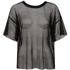 Sans Souci Black mesh crew neck tee ($19) ❤ liked on Polyvore featuring tops, t-shirts, black, sheer mesh top, crew neck t shirt, crewneck tee, sheer tops and short sleeve crew neck t shirt