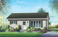 This small Bungalow features two bedrooms and a bathroom shared by them. The living room and kitchen are both open to each other with a space being provided for a dining area. Main image for house plan 12659 Cottage Style House Plans, Bungalow House Plans, Ranch House Plans, Best House Plans, Small House Plans, House Floor Plans, Cottage Homes, Basement House Plans, Bedroom House Plans
