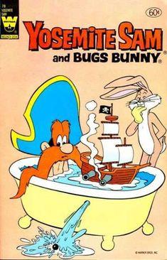 Bugs Bunny puts Model Ship in Yosemite Sam's Bath Tube. Mimi-Cannon put Hole in It.