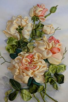 Wonderful Ribbon Embroidery Flowers by Hand Ideas. Enchanting Ribbon Embroidery Flowers by Hand Ideas. Rose Embroidery, Silk Ribbon Embroidery, Embroidery Kits, Embroidery Designs, Embroidery Stitches, Embroidery Tattoo, Embroidery Materials, Mexican Embroidery, Ribbon Art