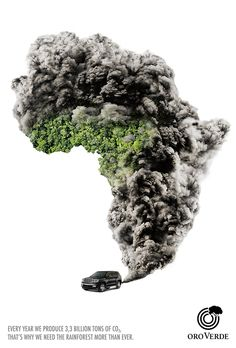 I like how the creator noticed how the shape of Africa looked kinda like a smoke cloud and used that to convey the message. The texture along with car make the message very clear and strong.