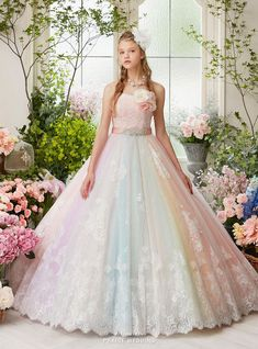 A magical sweet gown from Nicole Collection featuring pastel rainbow shades with classic lace details! Quince Dresses, 15 Dresses, Ball Dresses, Ball Gowns, Colorful Prom Dresses, Rainbow Wedding Dress, Colored Wedding Dress, Wedding Dresses, Pretty Outfits