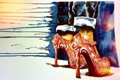 take it always, anyway you can. #roots #stilettos #highheels #hawaiian #fashion #polynesian #watercolor #painting