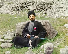 Prokudin-Gorsky ~ Pictured here is a Sunni Muslim man of undetermined nationality wearing traditional dress and headgea. Russia Before the Revolution, in Color Czar Nicolau Ii, Empire, Russian Revolution, Muslim Men, Tsar Nicholas Ii, Old Images, Imperial Russia, Black Sea, Library Of Congress
