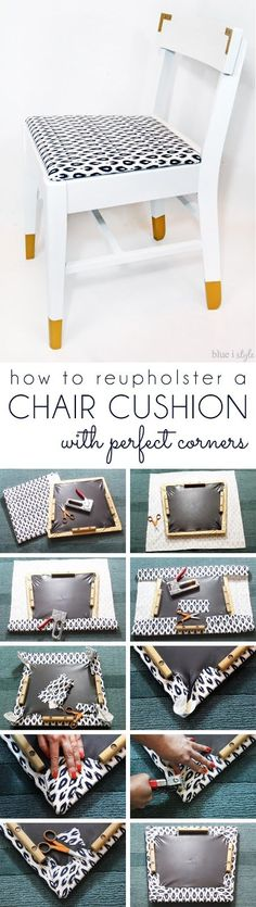 DIY Home Decor Ideas : Illustration Description How to upholster a chair cushion and achieve perfect corners – with no wrinkling or bunching! -Read More – Diy Furniture Projects, Repurposed Furniture, Home Projects, Painted Furniture, Refurbished Furniture, Diy Möbelprojekte, Easy Diy, Diy Crafts, Chair Makeover
