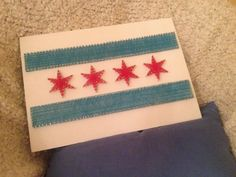 String art Chicago flag hand made custom order by Custommadegift Novelty Store, String Art, Art Projects, Chicago, Flag, Unique Jewelry, Handmade Gifts, Artwork, Etsy