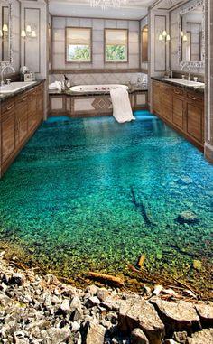 3d Floor Painting, Painting Wallpaper, Wallpaper Murals, Pintura Wallpaper, 3d Floor Art, Custom Wallpaper, Bathroom Floor Wallpaper, Bathroom Flooring, Dream Bathrooms