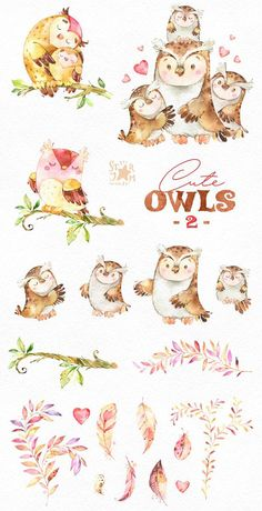 This 2 part of lovely birds set includes owls and florals. It is just what you needed for the perfect invitations, craft projects, paper products, party decorations, printable, greetings cards, posters, stationery, scrapbooking, stickers, t-shirts, baby clothes, web designs and much more.  :::::: DETAILS ::::::  This collection includes - 20 Images in separate PNG files, transparent background, different sizes approx.: 11.6-2in (3500-600px)  300 dpi RGB  1 part of Cute Owls https://...