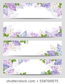 Vector web banners with purple, pink, blue and white lilac flowers. Floral Banners, Web Banners, Scenery Wallpaper, Flower Wallpaper, Leaf Background, Textured Background, Promotional Stickers, Banner Design Inspiration, Frame Border Design