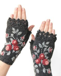 Knitted Fingerless Gloves, Gloves & Mittens, Gift Ideas, For Her, Winter Accessories,Grey, Roses, Mother's Day Gifts,Fashion, Accessories