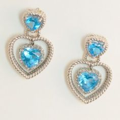 Lot # 37: Diamond & Blue Topaz Heart Earrings.  *NO RESERVE* Gold Rush Pays Auction Rodeo: July 30th at 2pm EST