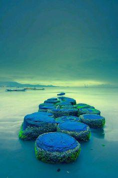 Dawn in Blue beach,  Bali Indonesia