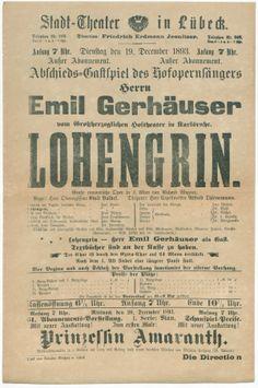 Plakat einer Lohengrin-Aufführung am Lübecker Stadttheater Stadtarchiv Lübeck