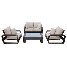 Bahamas Rattan Wicker 4-Seat Garden Patio Furniture Table