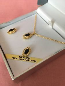Genuine Australian Crystal Pendant On Gold Tone Cable Necklace & Earrings Austrian Crystal, Crystal Pendant, Costume Jewelry, Diamond Earrings, 18th, Cable, Jewellery, Crystals, Gold