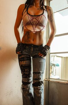 Image of TOXIC VISION destroyed Pantera denim and leather pants