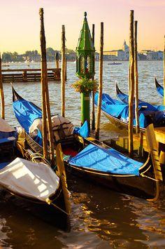 Gondolas in the early morning sun - Venice, Italy.