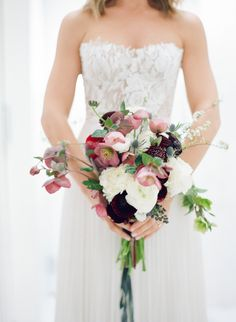Bold rose and thistle wedding bouquet: http://www.stylemepretty.com/2016/11/30/a-mid-century-modern-style-la-wedding/ Photography: Elizabeth Messina - http://www.elizabethmessina.com/#!/images/love/gallery/1