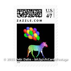 These fun first class US postage stamps feature a profile of a zebra in a rainbow of colors pulling along a bunch of colorful balloons with the strings in his mouth as if he's on his way to a party. http://www.zazzle.com/colorful_rainbow_zebra_party_animal_postage_stamp-172192180054536460?rf=238083504576446517&tc=20161005_pint_NI #art #party #animals #mail #supplies #StudioDalio