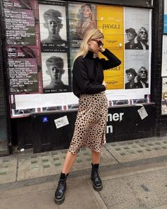 Leopard Print Skirt Outfit + Street Style Looks to Copy + Combat Boots + Fall Outfits + European Style Mode Outfits, Skirt Outfits, Fashion Outfits, Womens Fashion, Fashion Ideas, Midi Skirt Outfit, Midi Skirts, Sweater Outfits, Dress With Sweater