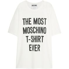 Moschino Oversized printed cotton T-shirt (625 RON) ❤ liked on Polyvore featuring tops, t-shirts, shirts, tees, t shirt, white, white cotton tee, moschino shirt, cotton shirts and white t shirt