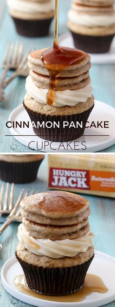 Get the recipe ♥ Cinnamon Pancake Cupcakes #recipes