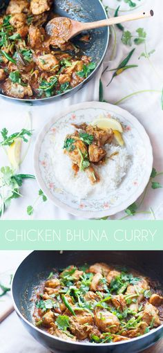 Bengali style Chicken bhuna curry, is a slightly drier chicken curry, with sticky caramelised onion base that is slightly sweet and spicy. A quick and easy curry to whip together for a weeknight dinner. Halal Recipes, Curry Recipes, Vegetable Recipes, Indian Food Recipes, Vegetarian Recipes, Ethnic Recipes, Quick Dinner Recipes, Quick Easy Meals, Halal Dinners