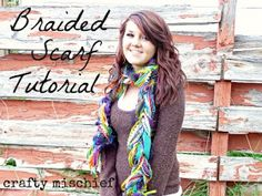 DIY:  Braided Scarf Tutorial - easy project that uses fabric scraps, ribbon, lace, yarn, etc. This is a great way to use up those leftovers!