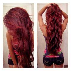 cute, dark red, hair, hairdye, long hair, pretty, red, want