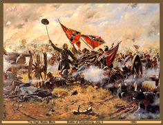 "The Highwatermark Lewis Armistead,Pickett's charge Gettysburg Don Troiani artwork. ""Give 'em cold hard steel, boys. Military Art, Military History, American Civil War, American History, American Soldiers, Pickett's Charge, Civil War Art, Southern Heritage, Confederate States Of America"