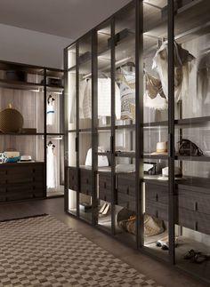Cabina armadio moderna / in legno / con porta battente / di gamma superiore - PALO ALTO - MisuraEmme